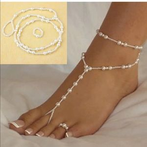 Ankle pearl and matching toe ring